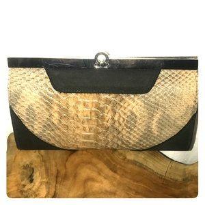 ETIENNE AIGNER Leather Snakeskin Wallet Clutch